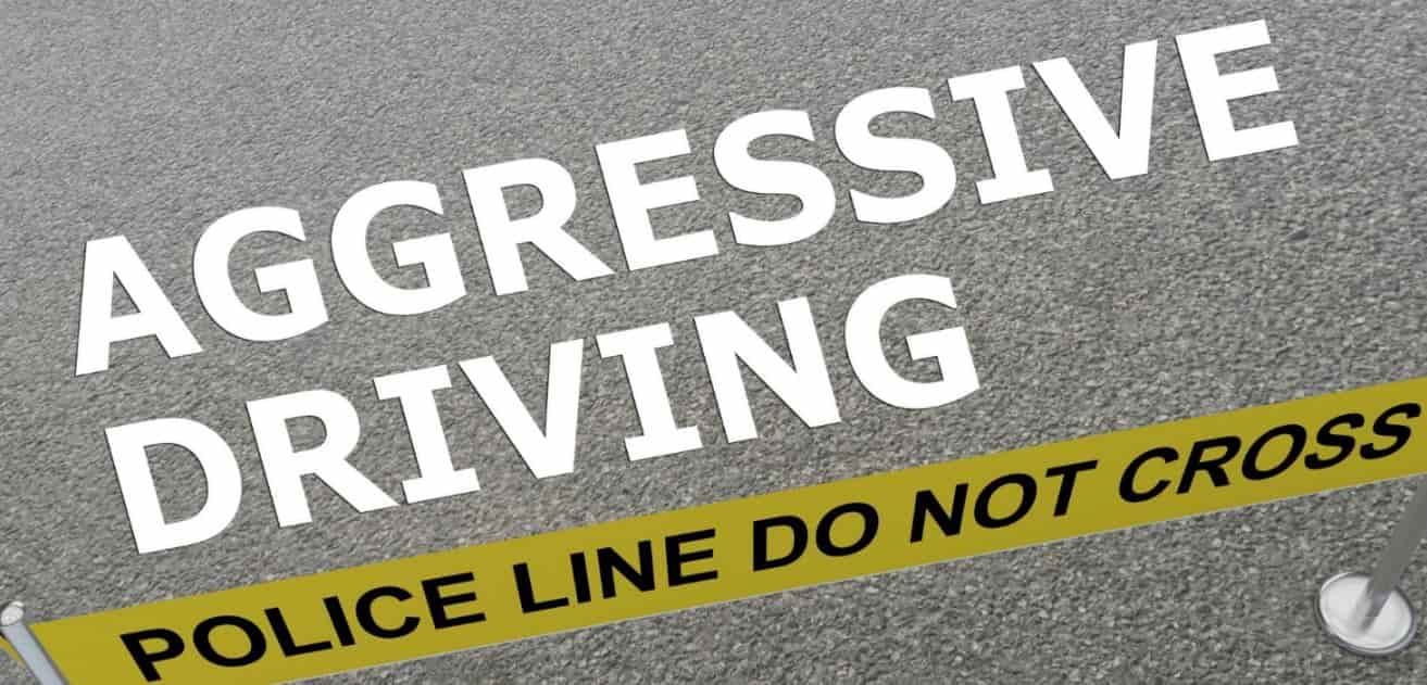 Agressive driving sign on the street