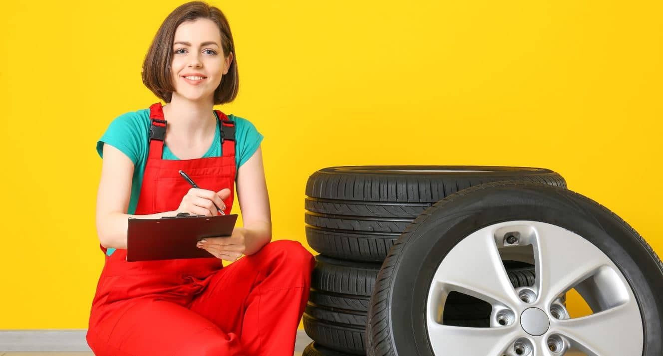 A girl evaluating value of the tires